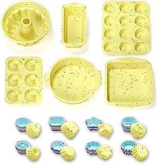 ست های پخت سیلیکونی 46PCS قالب های کیک سیلیکونی ست برای پخت ، از جمله قالب پخت ، قالب کیک ، قالب کیک ، قالب نان تست ، مافین تابه ، تابه دونات و قالب کاپ کیک قالب های پخت سیلیکون
