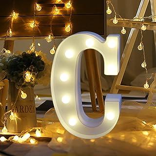 Alphabet LED Letter Lights Light Up Letters Sign Standing Hanging for Night Light Wedding/Birthday Party Bar Shop Sign Bat...