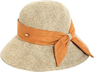 Bo Pin Hat-Straw Fisherman Hat Female Summer Outdoor Travel Leisure Beach Hat European And American Simple Foldable Wide-brimmed Sun Hat Big Bow Decoration Sunshade Hat (3 Colors Optional) Sun Protect