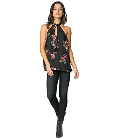 LAVENDER BROWN Sleeveless High Neck Floral Top