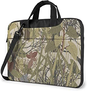 """Grass Leaves Military Camouflage Laptop Bag Protective Case Computer Messenger Briefcase Women Men 13"""""""