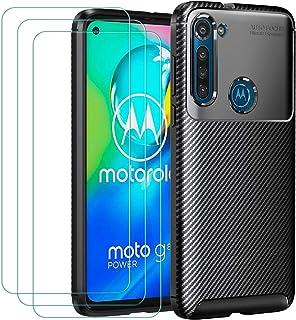 ivoler Fodral till Motorola Moto G8 Power + 3-pack skärmskydd i härdat glas, kolfiberdesign stötdämpande stötskydd, smalt ...