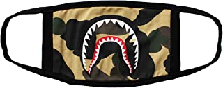 Men's Multi Usage Face Cover Up, Cotton Monkey Camo Shark Mouth Teeth Printed