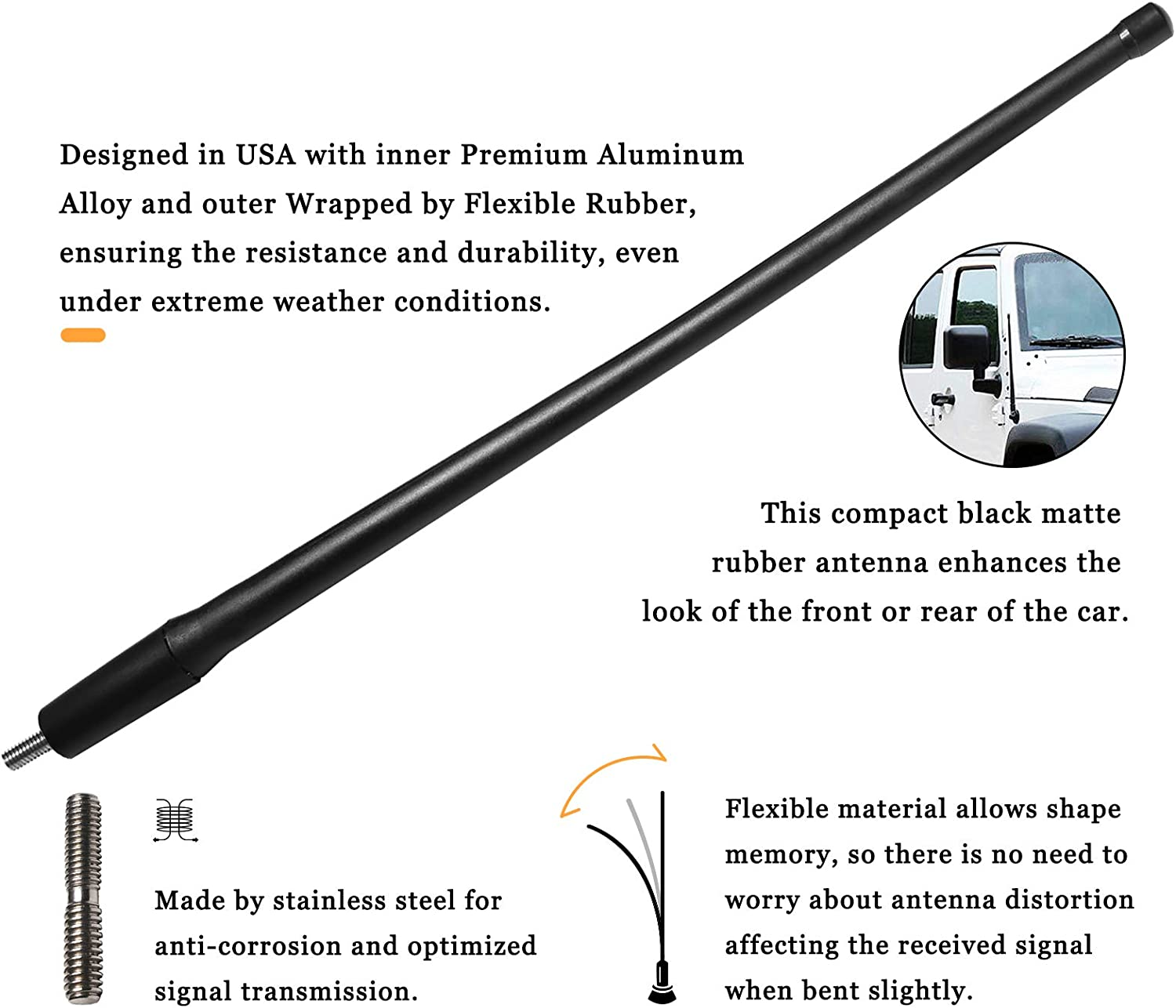 13 inches-Black JAPower AM FM Car Antenna Replacement for Toyota Sienna 2003-2014