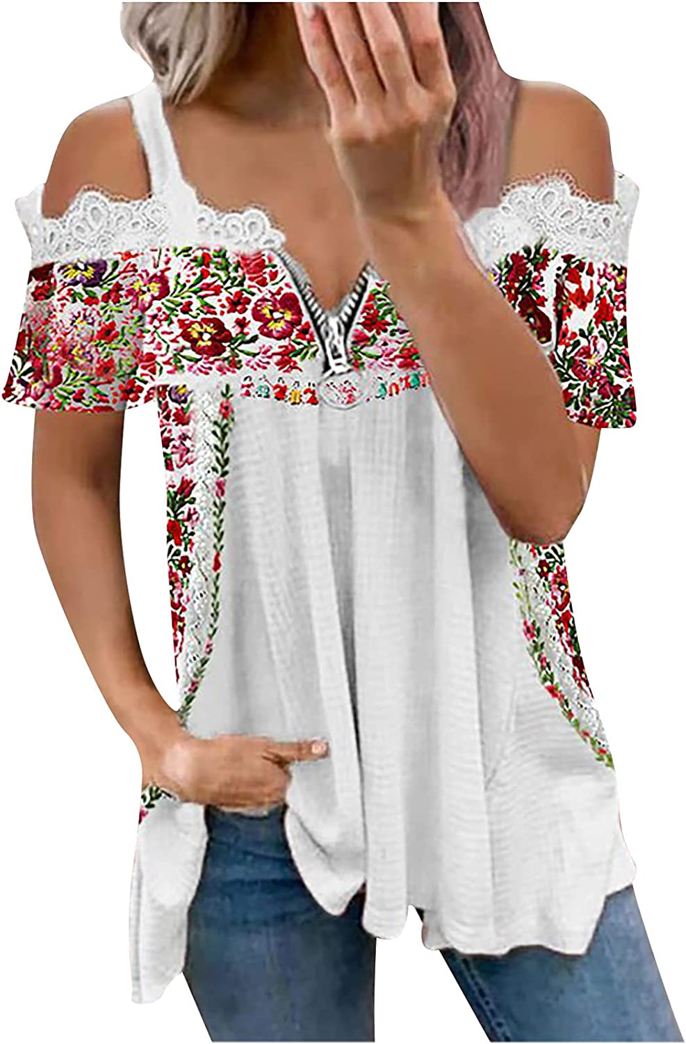 Womens Summer T Shirts Short Sleeve V Neck Tees Casual Lace Blouse Zipper Hollow Out Tops Cold Shoulder