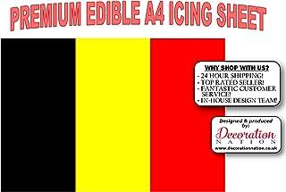 Decoración comestible para tarta con diseño de la bandera de Belguim, tamaño A4