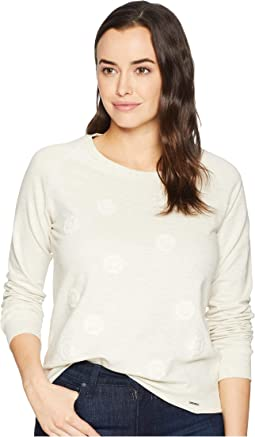 Long Sleeve French Terry Floral Embroidered Crew Neck Pullover