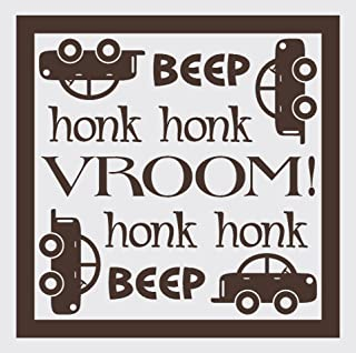 Wall Décor Plus More WDPM1461 Beep Honk Vroom Wall Vinyl Sticker with Car Decal, 23 W x 23 H, Chocolate Brown