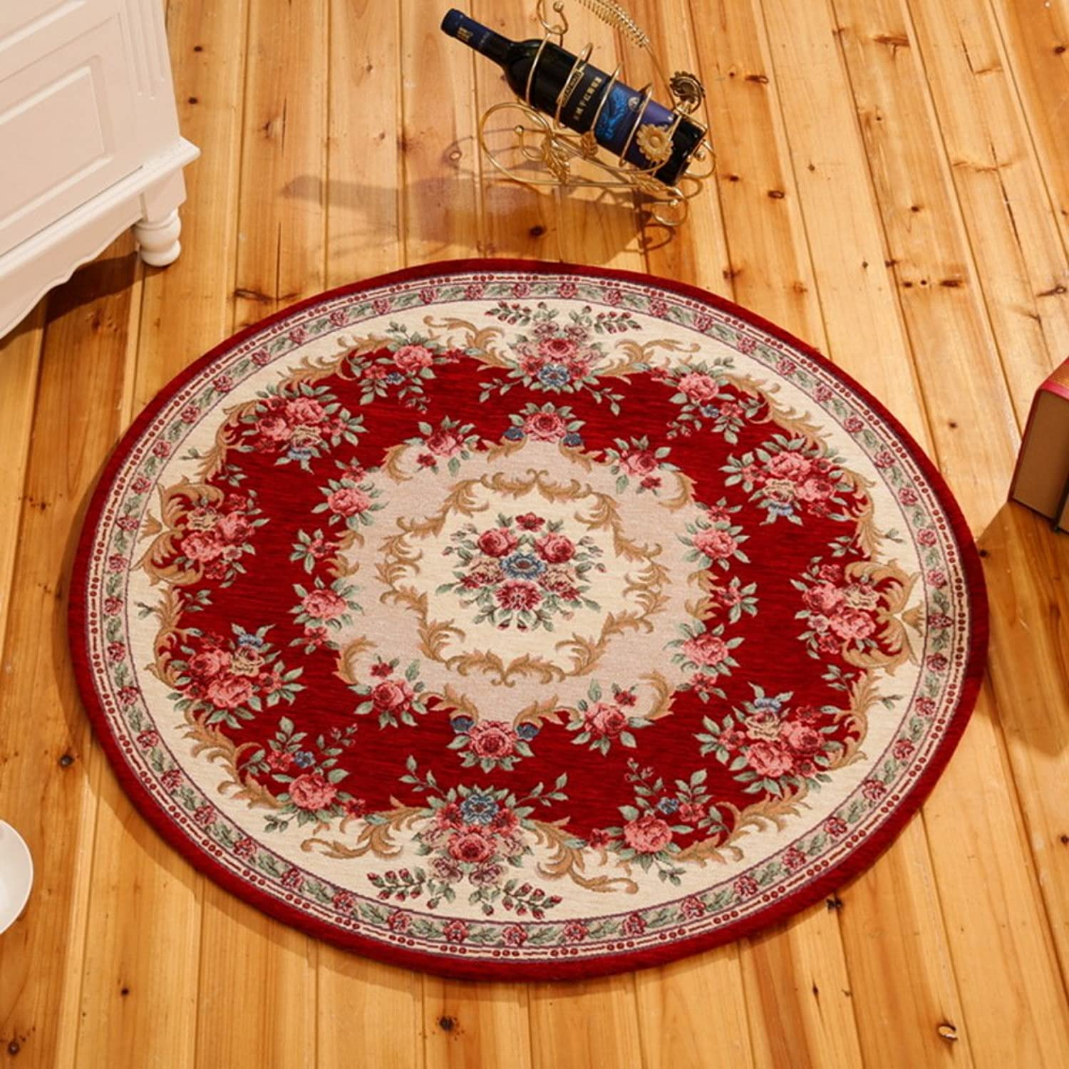 DXG&FX European carpet non-slip round chair mat bedroom mat-F diameter120cm(47inch)