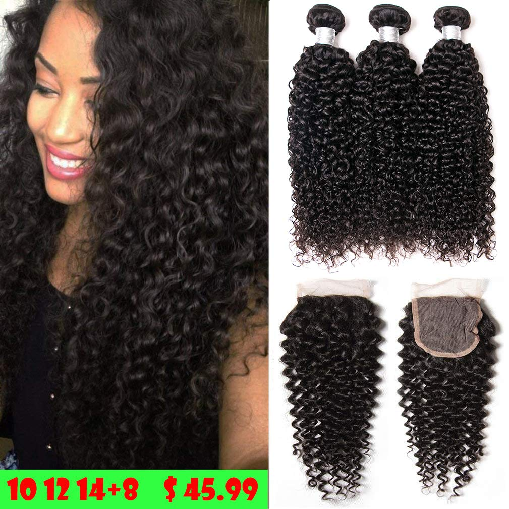 Brazilian Human Hair 3 Bundles With Closure Curly Wave Bundles With Free Part Closure 100 Unprocessed Virgin Human Hair Extensions Black Color 10 12 14 8 Free Closure Buy Online In Canada