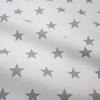 Tela de algodón blanco y gris grande estrellas Star Francia ...