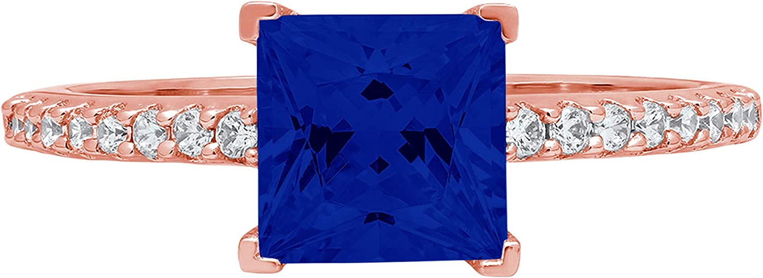 1.66ct Brilliant Princess Cut Solitaire with Accent Flawless Genuine Simulated Blue Sapphire Ideal Engagement Promise Anniversary Bridal Wedding Designer Ring 14k Rose Gold