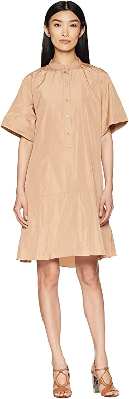 Short Sleeve Dress w/ Korean Neckline