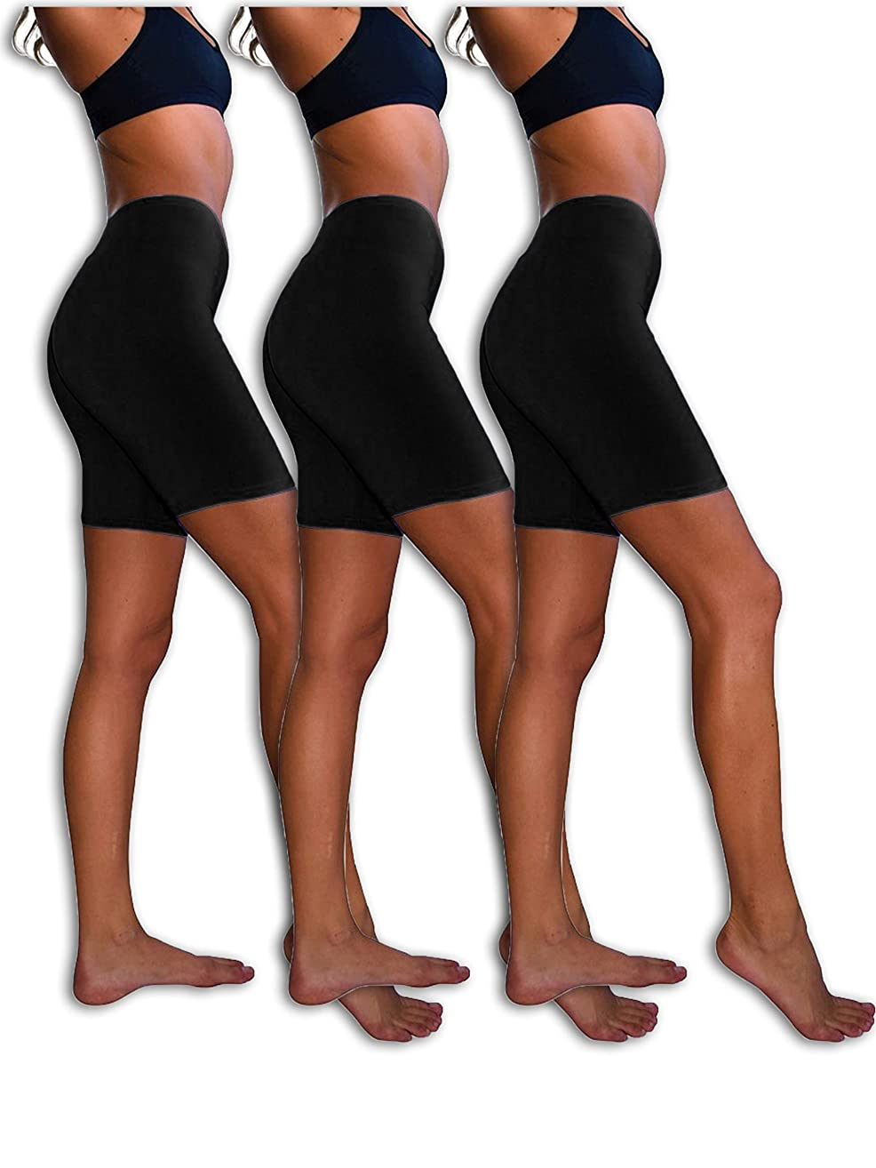 Sexy Basics Slip Shorts | 3-Pack Bike Shorts | Cotton Spandex Stretch Boyshorts for Yoga/Workouts