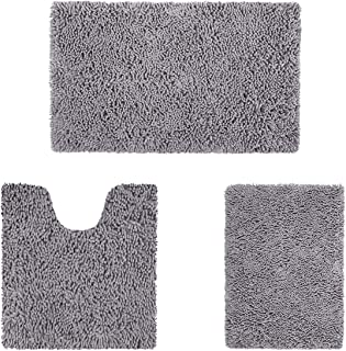 HOMEIDEAS Microfiber Absorbent Bath Rug, Chenille Washable Floor Mat -Non Slip Soft Carpet Modern Deep Gray