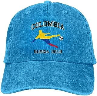 2018 Russia Colombian Soccer Team Unisex Denim Baseball Cap Adjustable Strap Low Profile Plain Hats Outdoor Casquette Snapback Hats Asphalt