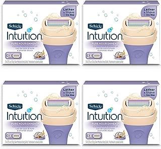 New Schick 100% Genuine Intuition Pure Nourishment Razor Refill Coconut Milk and Almond Oil Cartridge,4pack - 3 cartridges Each Pack Total 12 Cartridges