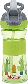 Nuby Thirsty Kids Push Button Flip-it Soft Spout on The Go Water Bottle with Easy Grip Band, Green Cactus, 12 Ounce