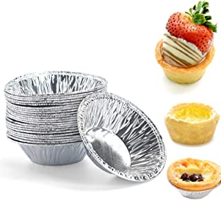 50 Pcs Small Mini Aluminum Tart Pans, Disposable Aluminum Foil Mini Tart/Pie Pans, Pie Pan Portuguese Tart Baking Mold Min...