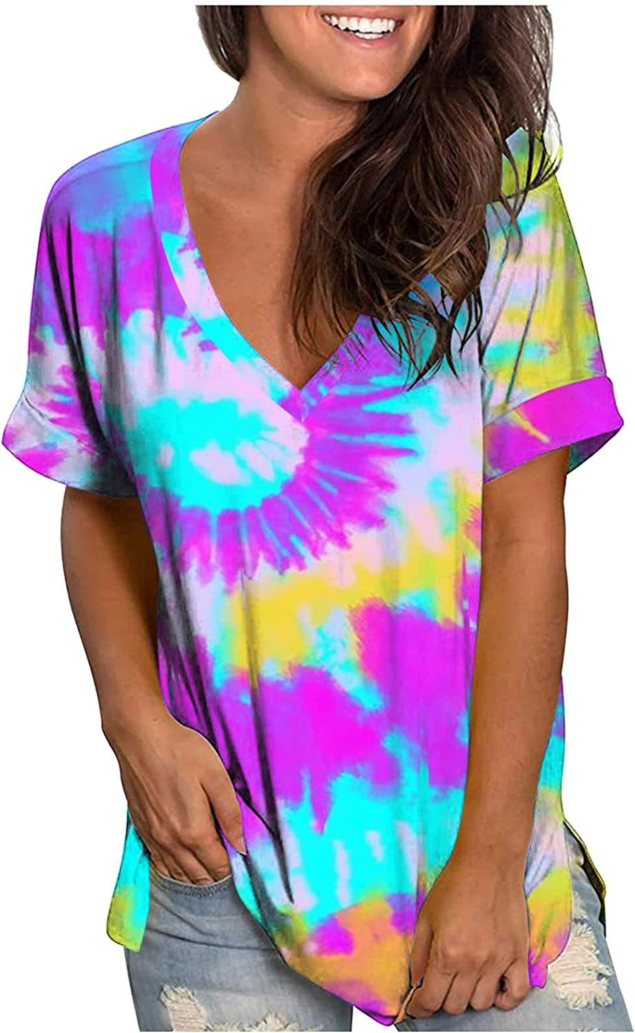 soyienma Womens Summer Tops,Tie Dye Tops Color V Neck Tees Casual Short Sleeve Blouses Loose Pullover Shirts