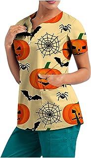 YOYHX Women's_Scrub_Top Women Halloween V Neck Short Sleeve Pumpkin Print Working Uniform Tops T Shirt with Pockets