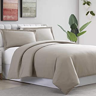Amrapur Overseas 3-Piece Ultra-Plush Solid Duvet Set, King/California King, Taupe
