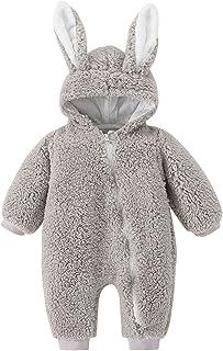 الرضع السروال القصير الوليد الطفل بنات الفتيان الأرنب الدافئة سميكة snowsuit معطف مقنعين بذلة مع الأذن (Color : Gray, Size...