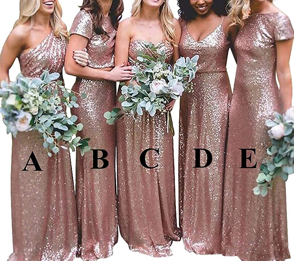 Faironline Women S Rose Gold Sequins Long Bridesmaid Dresses Formal Prom Gowns At Amazon Women S Clothing Store