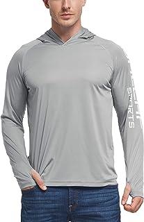 BALEAF Men`s UPF 50+ Sun Protection Athletic Hoodie Long Sleeve Performance SPF/UV Outdoor Recreation Thumbholes Shirt