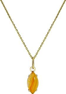Collana in oro giallo 9ct con pendente ovale e pietra di topazio CZ 35,7-45,7 cm