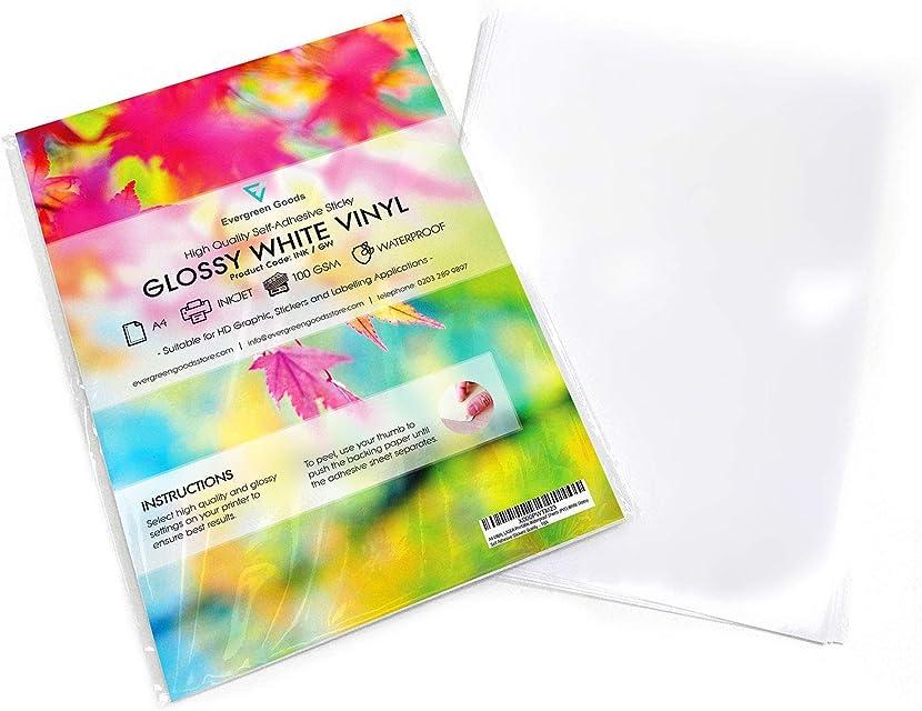10 hojas A4 impermeables de vinilo (PVC) de gran calidad color blanco brillante autoadhesivas e imprimibles por inyección