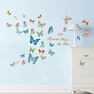 decalmile Stickers Muraux 32 Papillons Colorés Autocollant Mural Citations et Lettres with Brave Wings She Flies Décoratio...