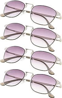 4-Pack Retro Metal Frame Reading Glasses with Spring-hinge for Women