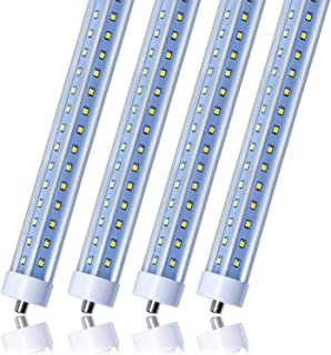 T8 T10 T12 LED Light Tube, 8ft, 72W (150W Equivalent), 6500K, 7200 Lumens, Single Pin FA8 Base, V Shape, Clear Cover, Dual-Ended Power, Ballast Bypass, Fluorescent Light Bulbs Replacement (4-Pack)