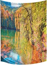 InterestPrint Beautiful Mountain Autumn Landscape in Seven Lakes Tapestry Wall Hanging Art Cotton Linen Tapestries for Living Room Bedroom Dorm Decor, 60