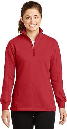 Sport Tek Ladies 1 4 Zip Sweatshirt Lst253 At Amazon Women S Clothing Store 2x2 rib knit collar and cuffs with spandex. sport tek ladies 1 4 zip sweatshirt
