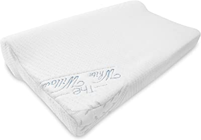 The White Willow Cervical Contour Memory Foam Orthopedic Bed Pillow for Sleeping, Hypoallergenic Neck Optimum Support for Pain Relief with Washable Zippered Pillow Cover ( Multi)