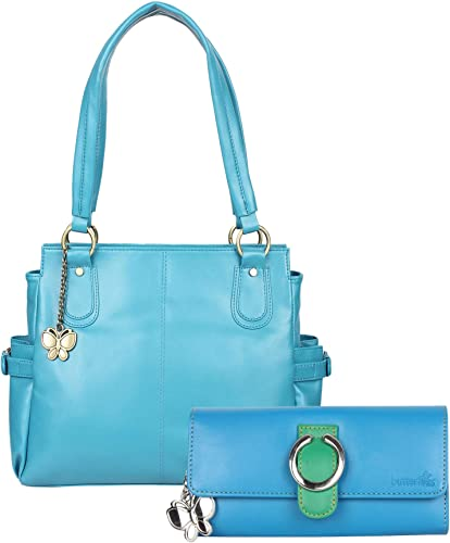 Women Hand Bag With Wallet Combo Sky Blue Green BNS WB0678 Set Of 2