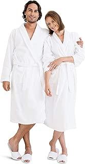 Luxury Bathrobe Towel, Spa Robe Combed Terry Cotton for Men Women, White