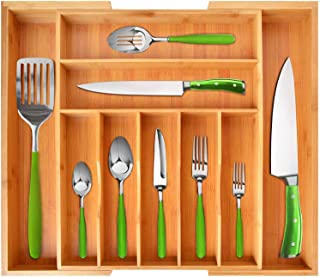 Bamboo Kitchen Drawer Organizer - Expandable Silverware Organizer/Utensil Holder and Cutlery Tray with Grooved Drawer Divi...