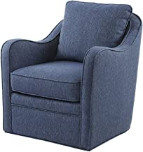 Madison Park MP103-0697 Brianne Swivel Chair - Solid Wood, Plywood, Metal Base Accent Armchair Modern Classic Style Family Room Sofa Furniture, 29.5