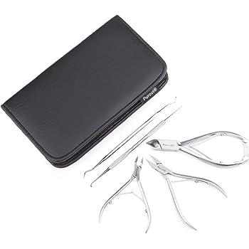 Purovi® Kit de Manicura y Pedicura | 5 Instrumentos | Uñas y Cutículas | Acero Inoxidable | Estuche Elegante: Amazon.es: Jardín