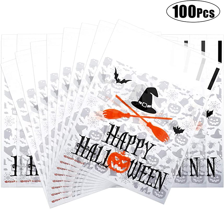 100 Pieces Halloween Treat Bags Clear Self Adhesive Candy Bags Cellophane Plastic Cookie Bags For Party Favors Halloween Decoration