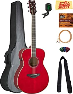 Yamaha FS-TA Concert Transacoustic Guitar - Ruby Red Bundle with Gig Bag, Tuner, Strings, Strap, Picks, Austin Bazaar Instructional DVD, and Polishing Cloth