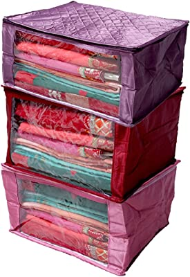Kuber Industries™ Saree Cover Extra Large Size Quilted Satin Set of 3 Pcs (Maroon, Purple & Pink)