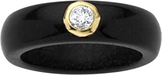 10K Yellow Gold Round Genuine Topaz Black Genuine Jade Bezel Set Ring