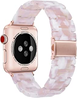 V-MORO Resin Strap Compatible with Apple Watch Band 38mm 40mm Series 4/3/2/1 Women Men with Stainless Steel Buckle, Apple iWatch Replacement Wristband Bracelet (Floral Pink, 38mm)