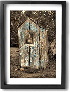 Hobson Reginald Canvas Wall Art Prints Rustic Vintage Outhouse Bathroom Brown Blue -Photo Paintings Modern Home Decoration Giclee Artwork-Wood Frame Ready to Hang 12