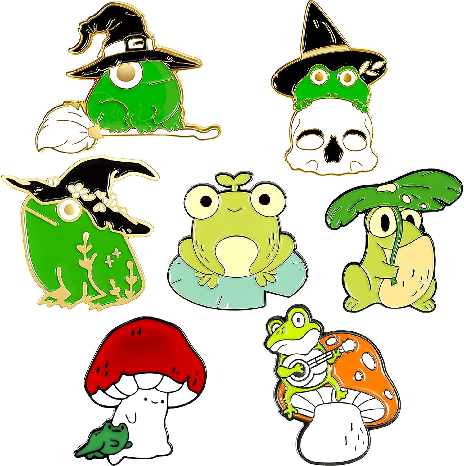 7 Pieces Novelty Ranking TOP11 Animal Frog At the price Enamel Bad Plant Cute Mushroom Pin