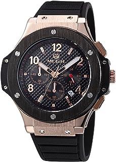 MEGIR 3002G【化粧箱セット】クロノグラフ アナログ/クオーツ 腕時計 ミリタリー/レーシング (ブラック/ゴールド) [並行輸入品]